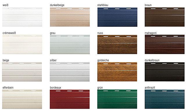 Verfügbare Panzerfarben für Vorbaurollläden